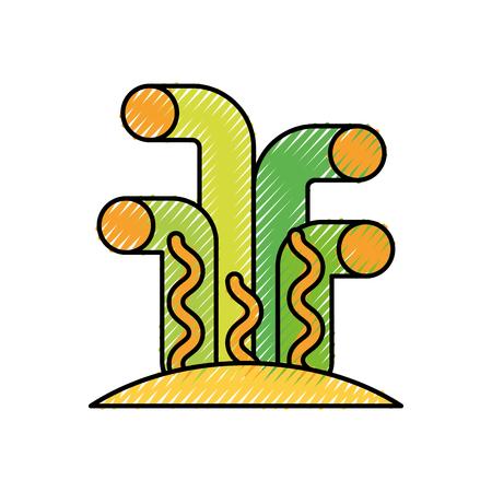 Mariene koraal sealife pictogram vector illustratie ontwerp
