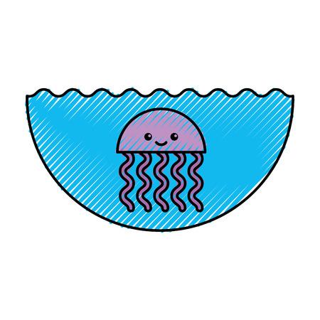 귀여운 해파리 sealife 아이콘 벡터 일러스트 레이 션 디자인 일러스트