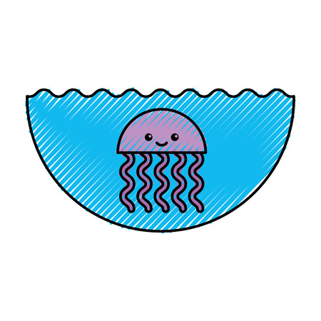 cute jellyfish sealife icon vector illustration design Illustration
