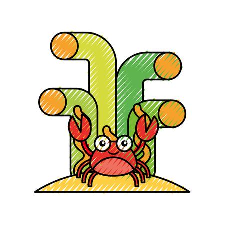 かわいいカニの文字ベクトル イラスト デザイン  イラスト・ベクター素材