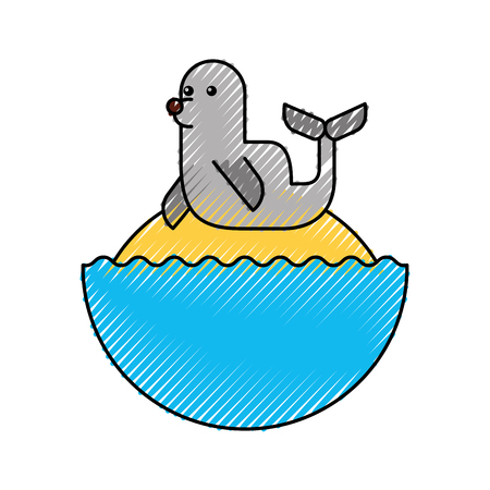 Cute seal isolated icon vector illustration design 向量圖像