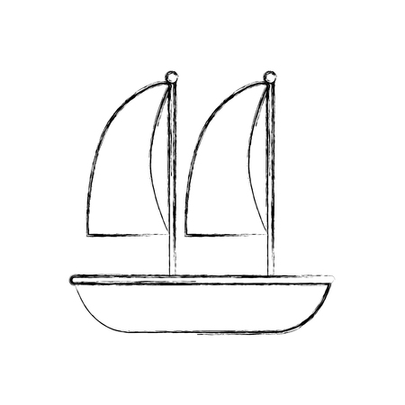 sailboat marine isolated icon vector illustration design Ilustração