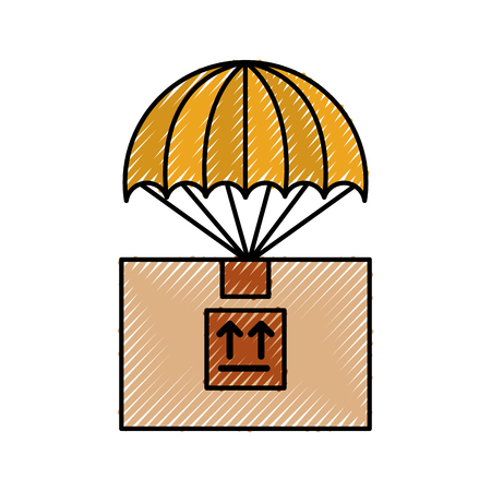 box carton with parachute delivery icon vector illustration design