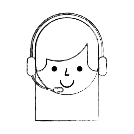 Agente di call center avatar illustrazione vettoriale di progettazione Archivio Fotografico - 81372204