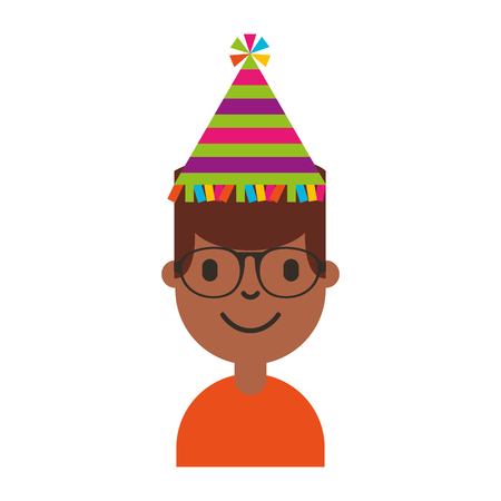 adult birthday party: young man black with party hat avatar character vector illustration design