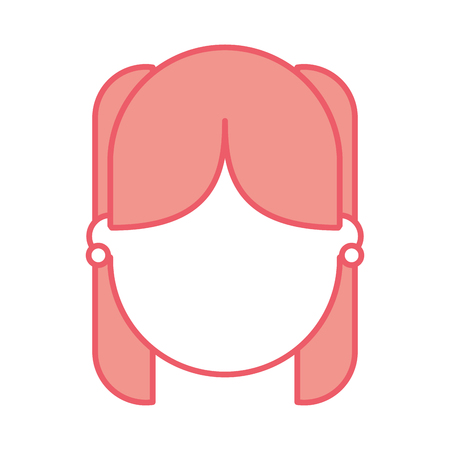 cute young girl head avatar character vector illustration design