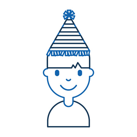 young man with party hat avatar character vector illustration design