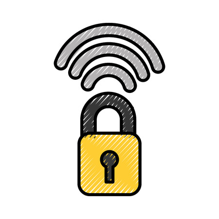 safe secure padlock with wifi signal vector illustration design Illustration