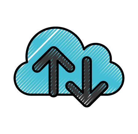 disco duro: computación en la nube con diseño de ilustración vectorial de flechas