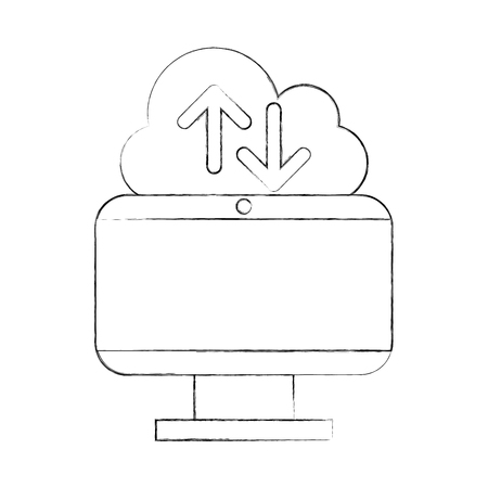 cloud computing with computer vector illustration design