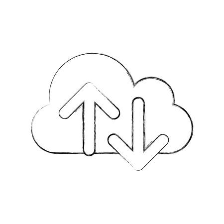 cloud computing with arrows vector illustration design Stock Vector - 81377312