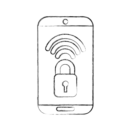 smartphone with safe secure padlock icon vector illustration design