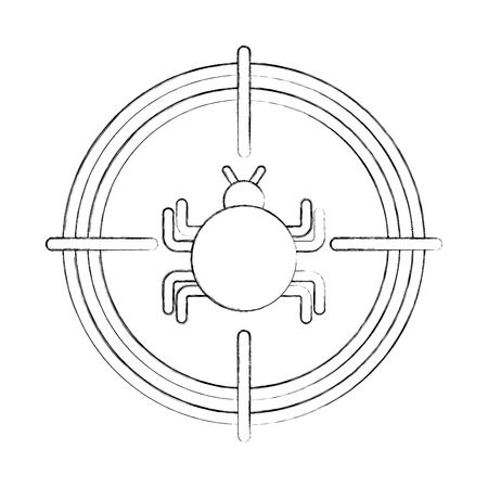 バグ感染ウイルスのアイコン ベクトル イラスト デザイン