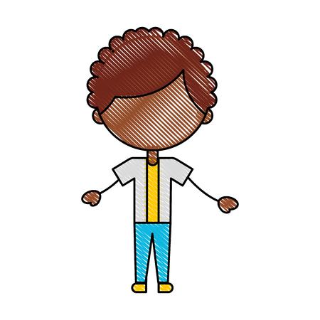 Cute africano ragazzo icona carattere illustrazione vettoriale illustrazione Archivio Fotografico - 81378311