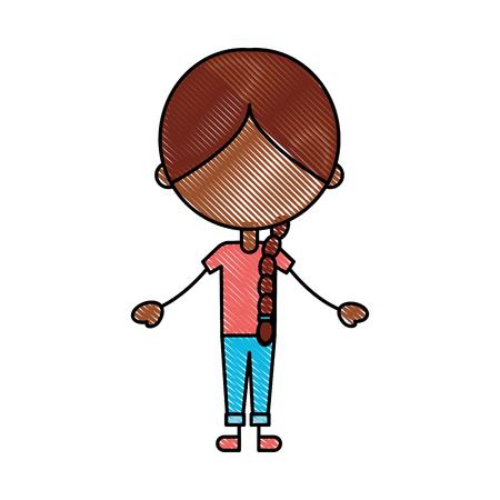 Carino ragazza nera icona carattere illustrazione vettoriale illustrazione Archivio Fotografico - 81378990