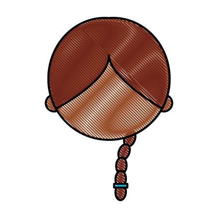 Cute nero ragazza carattere icona illustrazione vettoriale illustrazione Archivio Fotografico - 81378992