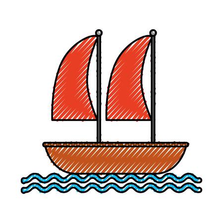Zeilboot mariene geïsoleerd pictogram vector illustratie ontwerp