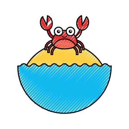 schattige krab sealife karakter vector illustratie ontwerp