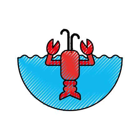 cute lobster sealife character vector illustration design 向量圖像