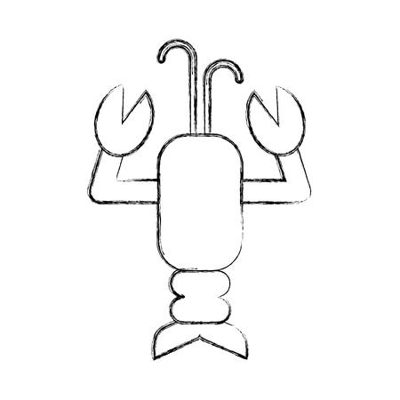 귀여운 랍스터 sealife 캐릭터 벡터 일러스트 디자인