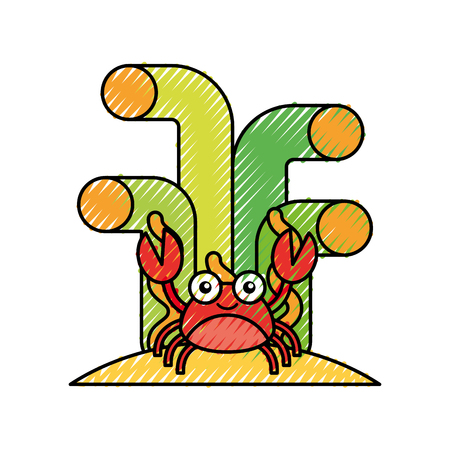 cute crab sealife character vector illustration design Stock fotó - 81376955