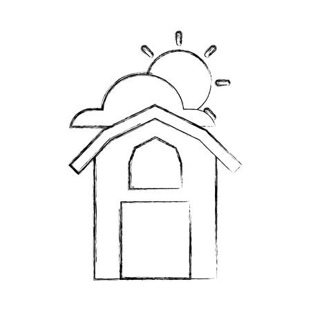 농장 안정된 건물 아이콘 벡터 일러스트 디자인 일러스트