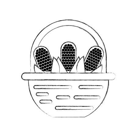 トウモロコシ ベクトル イラスト デザイン付きストロー バスケット