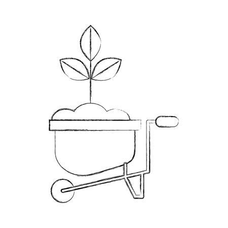 Gekweekte plant in kruiwagen vector illustratie ontwerp