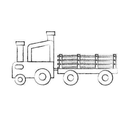 tractor boerderij met vervoer vectorillustratie ontwerp Stock Illustratie