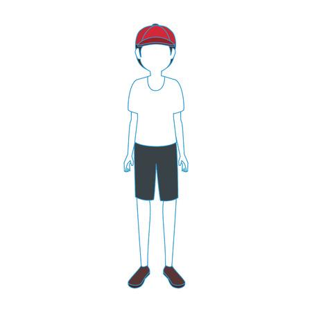 Van het het pictogrampictogram van jongens anoniem avatar pictogram vectorillustratie grafisch ontwerp