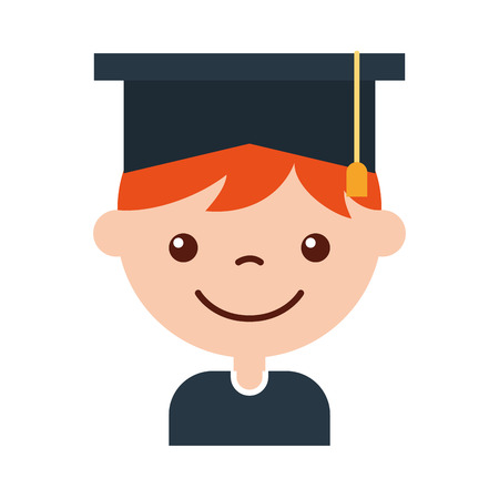 cute boy graduated icon vector illustration design Illusztráció