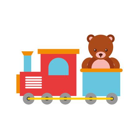 train toy with bear teddy vector illustration design