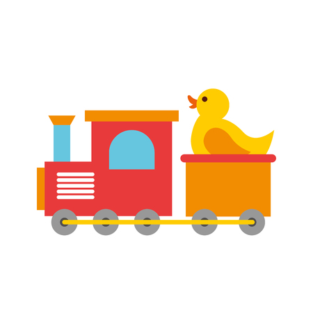 train with rubber duck toy icon vector illustration design