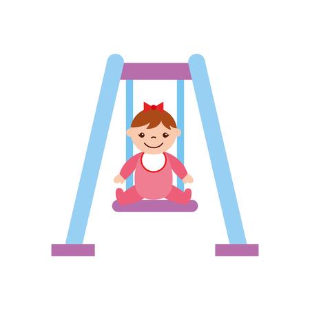 cute girl baby on swing avatar character vector illustration design