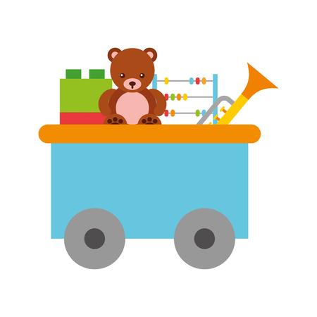 trein wagen speelgoed met speelgoed vector illustratie ontwerp Stock Illustratie