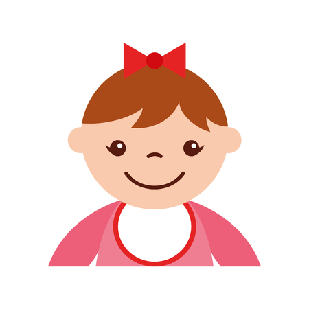 cute girl baby avatar character vector illustration design