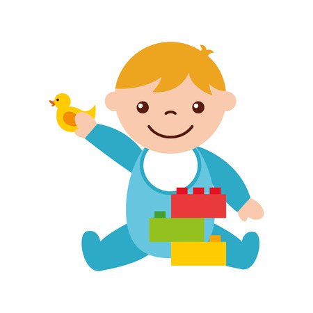 cute boy baby with toys avatar character vector illustration design 向量圖像