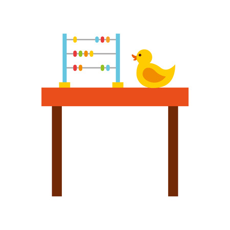 table with rubber duck toy icon vector illustration design