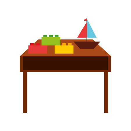 table wooden with toys vector illustration design Illustration
