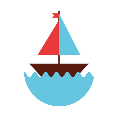 motorboat: sail boat isolated icon vector illustration design Illustration