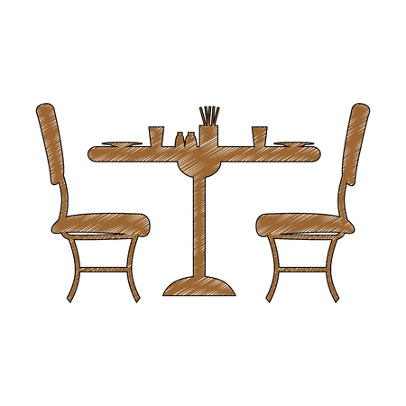 Desk with chairs restaurant icon vector illustration graphic design