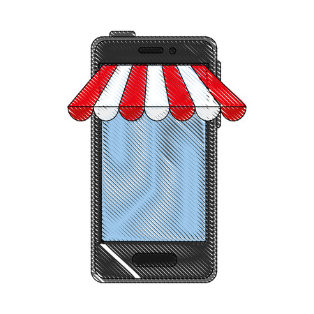 Smartphone buy online icon vector illustration graphic design Stock Photo