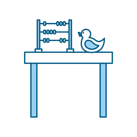 A table with rubber duck toy icon vector illustration design.
