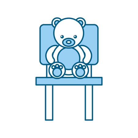 Orsacchiotto sveglio dell'orso che si siede sulla progettazione dell'illustrazione di vettore della sedia Archivio Fotografico - 81636642
