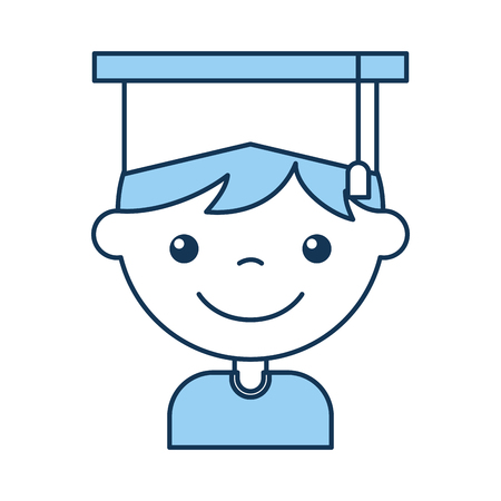 cute boy graduated icon vector illustration design Ilustração