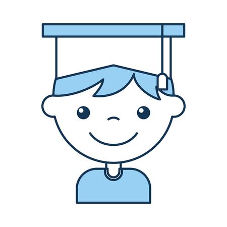 cute boy graduated icon vector illustration design Illustration