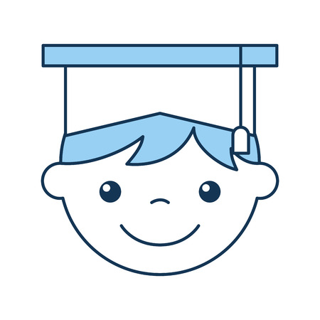 cute boy graduated icon vector illustration design Çizim