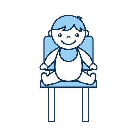 かわいい男の子の赤ちゃん椅子アバター文字ベクトル イラスト デザインの上に座って