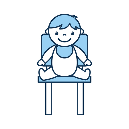 cute boy baby sitting on chair avatar character vector illustration design Çizim
