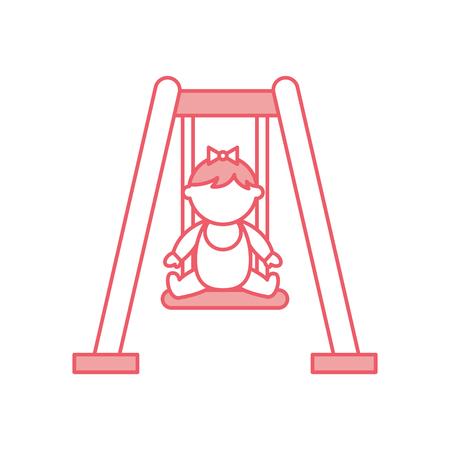 スイング アバター文字ベクトル イラスト デザインのかわいい女の子の赤ちゃん